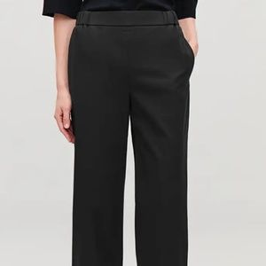 COS Navy Blue Cotton Wide Leg Pull-on Trousers /S